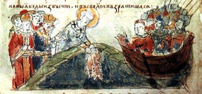 Св. Патр. Фотий и император Михаил опускают в море ризу Влахернськой Ризы Божией Матери во время облоги Константинополя армиями Оскольда Киевского
