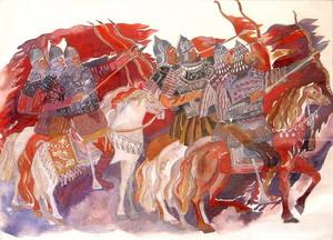 Богатыри. Эскиз к *Золотому петушку* Римского-Корсакова. Дарья Янова