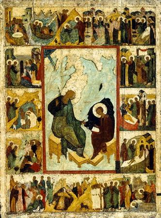 Св.Иоанн Богослов записывает Откровение Иисуса Христа
