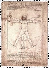 Леонардо да Винчи. Штудия пропорций человеческой фигуры по Витрувию. 1490-е гг.