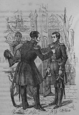 Александр I награждает штабс-капитана Байкова орденом св. Георгия за бой при Красном