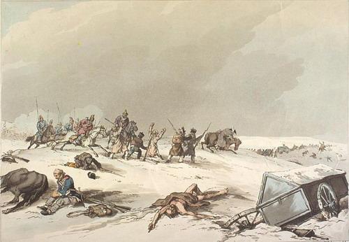 Казаки нападают на отступающих французов