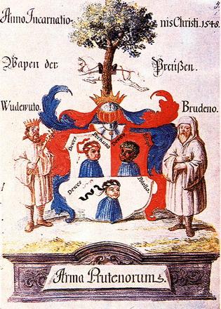 Легендарный герб пруссов (из хроники Иоганнеса Мельмана, 1548 г.) Arma Prutenorums - Щит (герб) Пруссии.