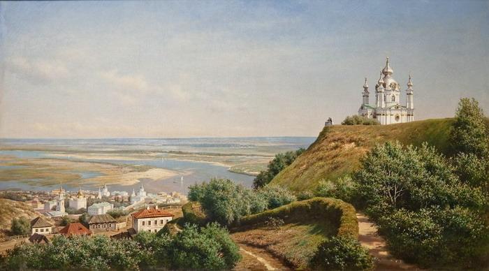 М.К. Клодт. Вид в Киеве из сада Муравьёва. 1871.