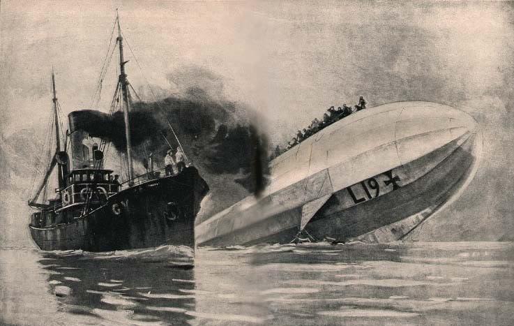 Упавший на воду немецкий дирижабль