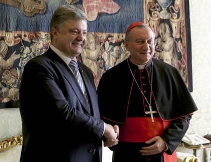Секретарь Ватикана кардинал Пьетро Паролин и президент Украины Петр Порошенко